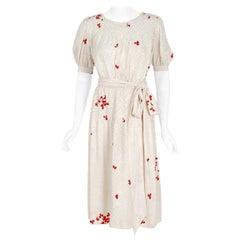 Vintage 1978 Yves Saint Laurent Haute-Couture Silk Print Peasant Dress & Shawl