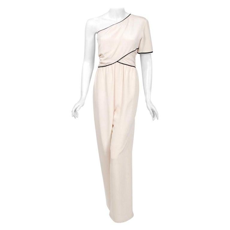 Vintage 1979 Bill Blass Couture Ivory Silk One-Shoulder Asymmetric Jumpsuit For Sale