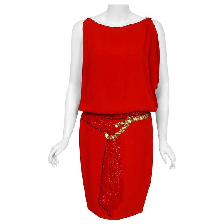 Vintage 1979 Bill Blass Red Crepe Beaded Metallic Trompe L'oeil Draped Dress