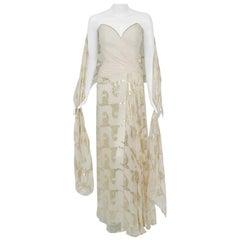 Vintage 1979 Bob Mackie Couture Metallic Ivory Gold Sari-Silk Strapless Gown