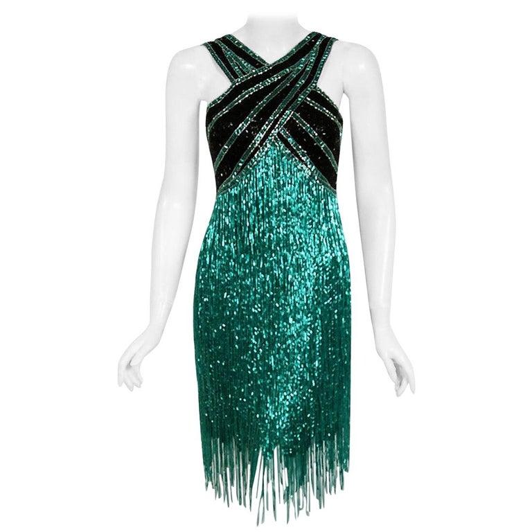 Vintage 1979 Bob Mackie Couture Teal & Black Beaded Fringe Backless Disco Dress For Sale