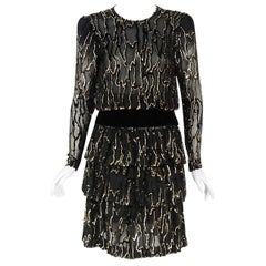Vintage 1979 Givenchy Haute-Couture Metallic Gold & Black Burnout Velvet Dress