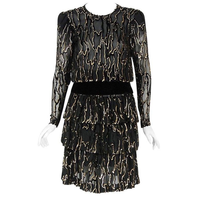 Vintage 1979 Givenchy Haute-Couture Metallic Gold & Black Burnout Velvet Dress  For Sale