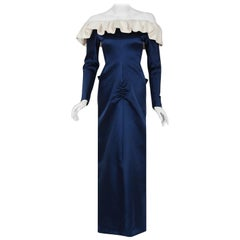 Vintage 1979 Givenchy Haute-Couture Navy & Ivory Satin Off-Shoulder Ruffle Gown
