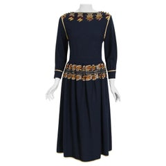 Vintage 1979 Karl Lagerfeld for Chloe Navy Blue Metallic Embroidered Knit Dress