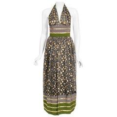 Vintage 1979 Lanvin Couture Metallic Polka-Dot Charcoal Silk Lamé Halter Dress