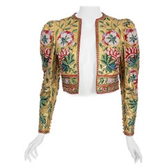 Vintage 1979 Lanvin Haute Couture Embroidered Beaded Gold Lamé Cropped Jacket