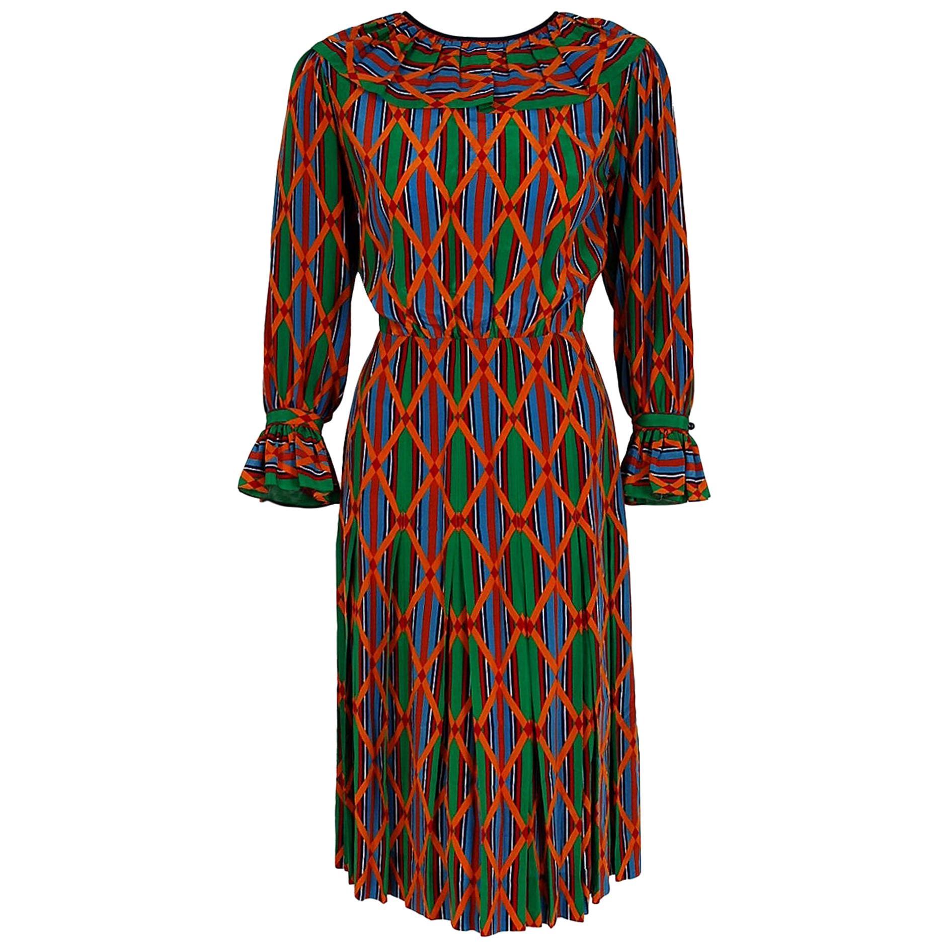 Vintage 1979 Yves Saint Laurent Colorful Navajo Print Silk Pleated Peasant Dress