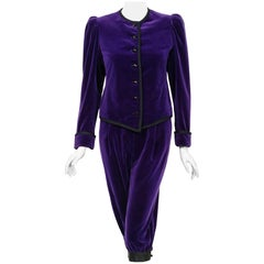 Vintage 1979 Yves Saint Laurent Documented Purple Velvet Jacket Knicker Pantsuit