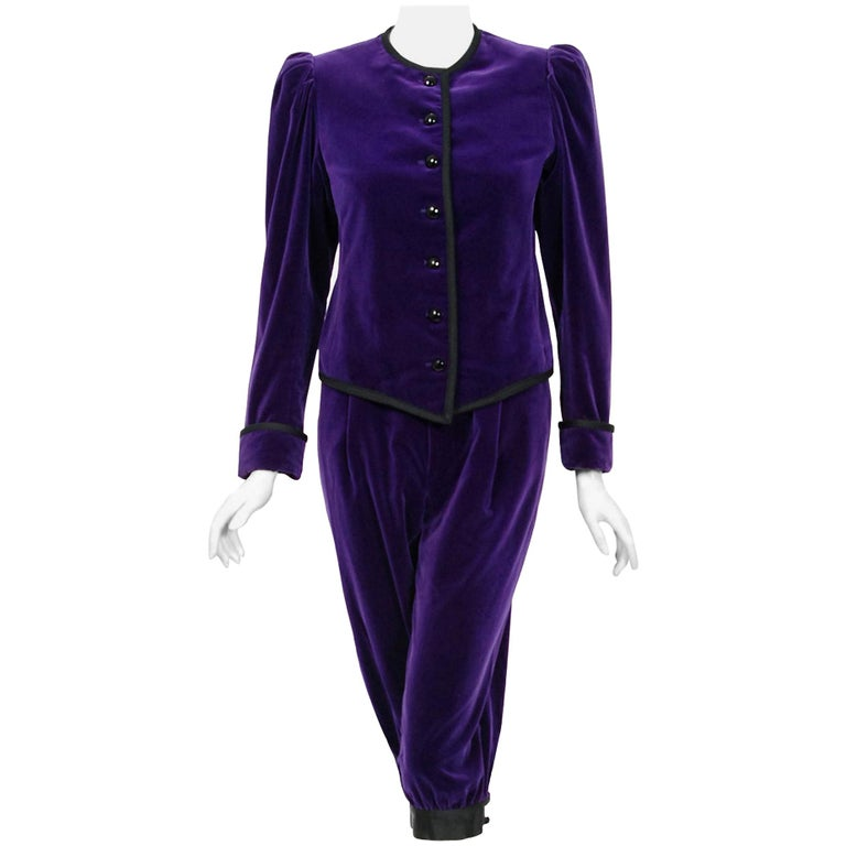 Vintage 1979 Yves Saint Laurent Documented Purple Velvet Jacket Knicker Pantsuit For Sale