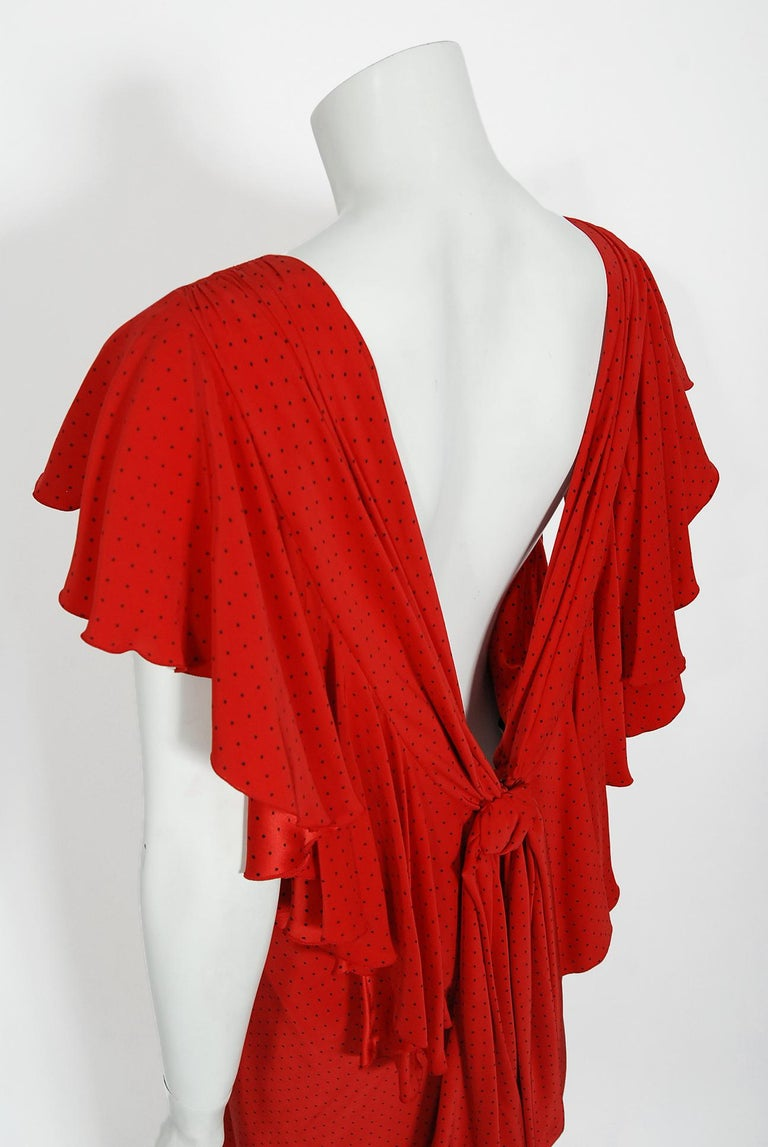 Vintage 1979 Yves Saint Laurent Haute Couture Red Dotted Silk Backless Gown For Sale 6