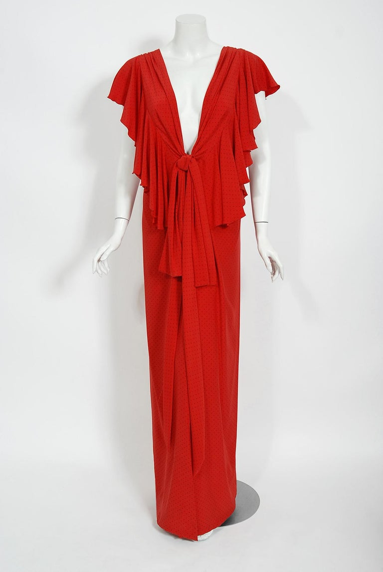 Vintage 1979 Yves Saint Laurent Haute Couture Red Dotted Silk Backless Gown For Sale 7