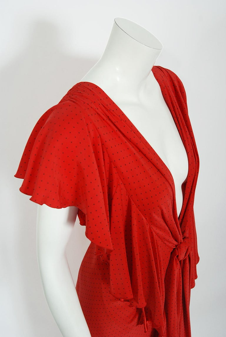 Vintage 1979 Yves Saint Laurent Haute Couture Red Dotted Silk Backless Gown For Sale 8
