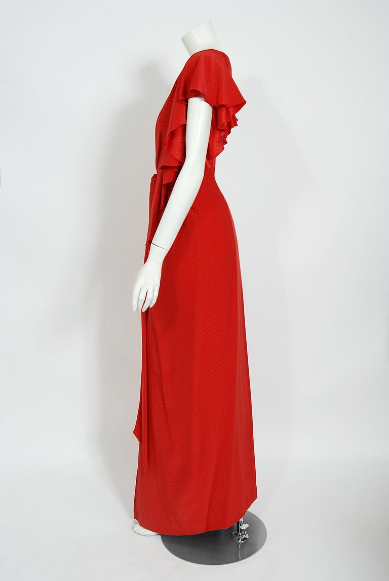 Vintage 1979 Yves Saint Laurent Haute Couture Red Dotted Silk Backless Gown For Sale 9