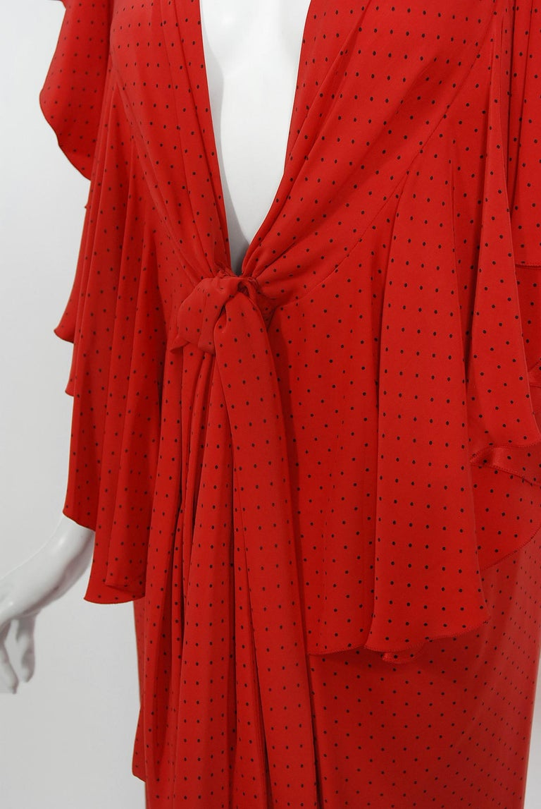 Vintage 1979 Yves Saint Laurent Haute Couture Red Dotted Silk Backless Gown For Sale 10