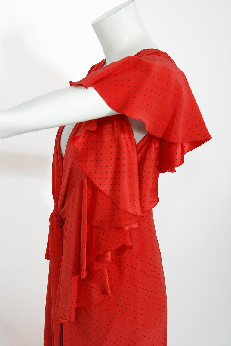 Vintage 1979 Yves Saint Laurent Haute Couture Red Dotted Silk Backless Gown For Sale 11