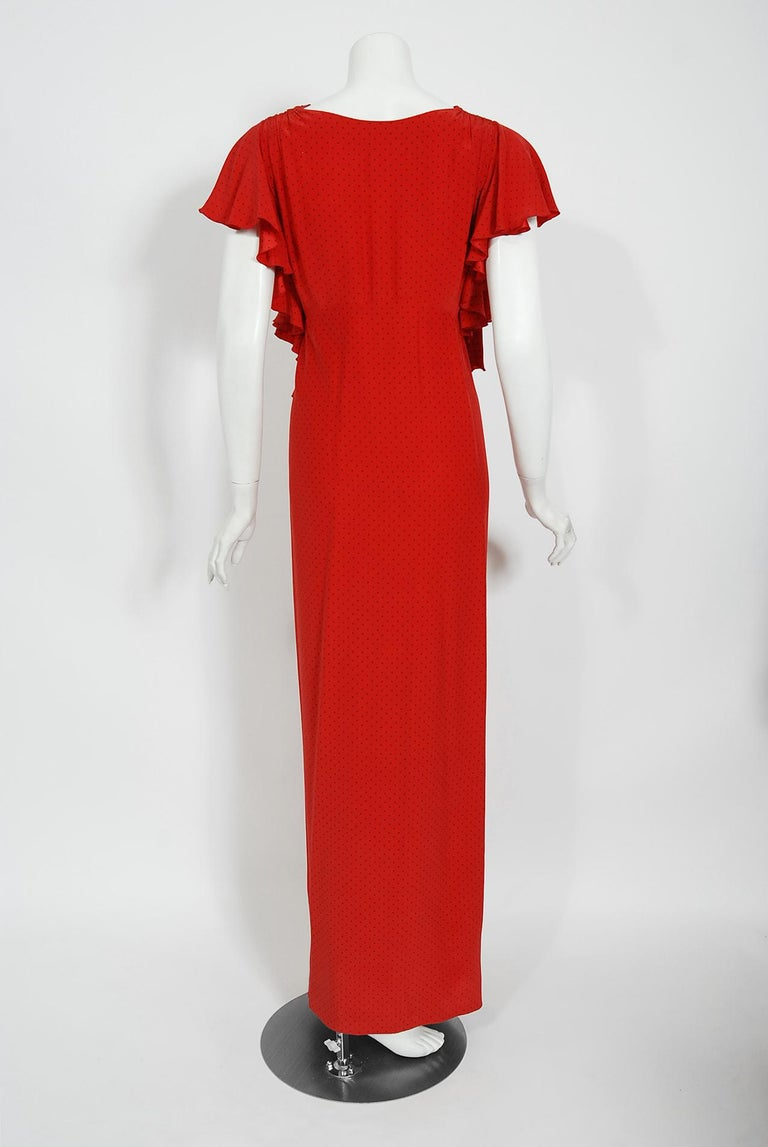 Vintage 1979 Yves Saint Laurent Haute Couture Red Dotted Silk Backless Gown For Sale 12