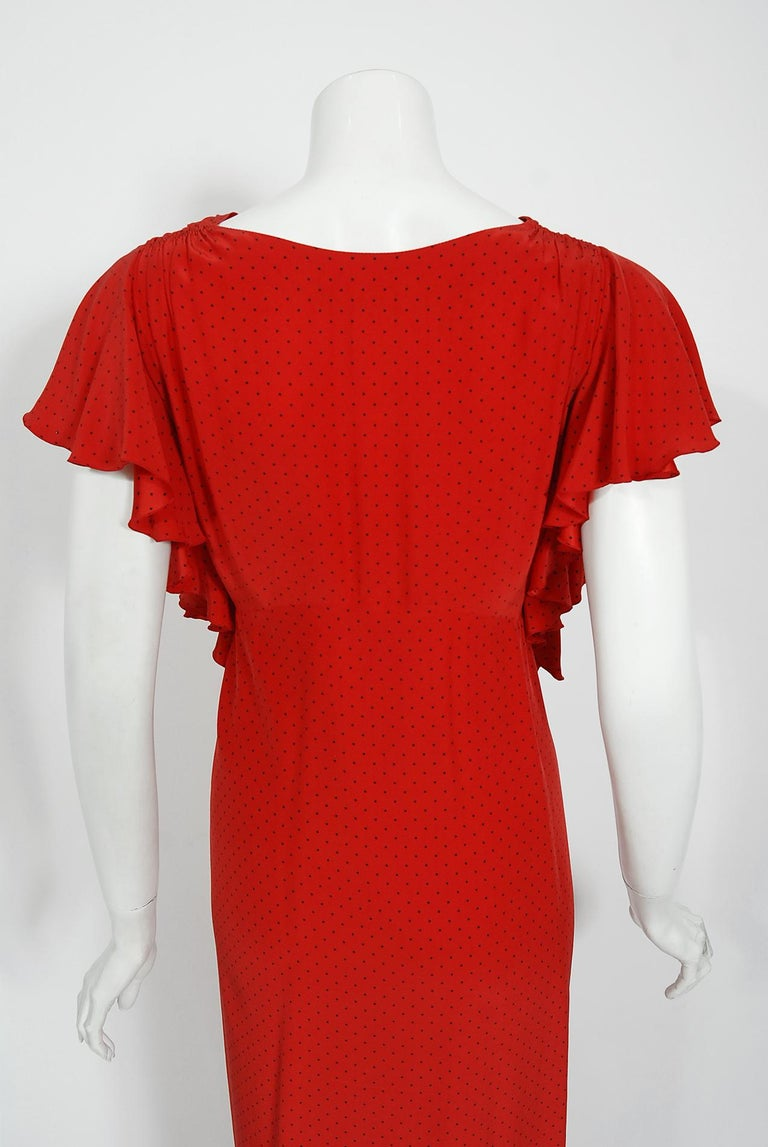 Vintage 1979 Yves Saint Laurent Haute Couture Red Dotted Silk Backless Gown For Sale 13