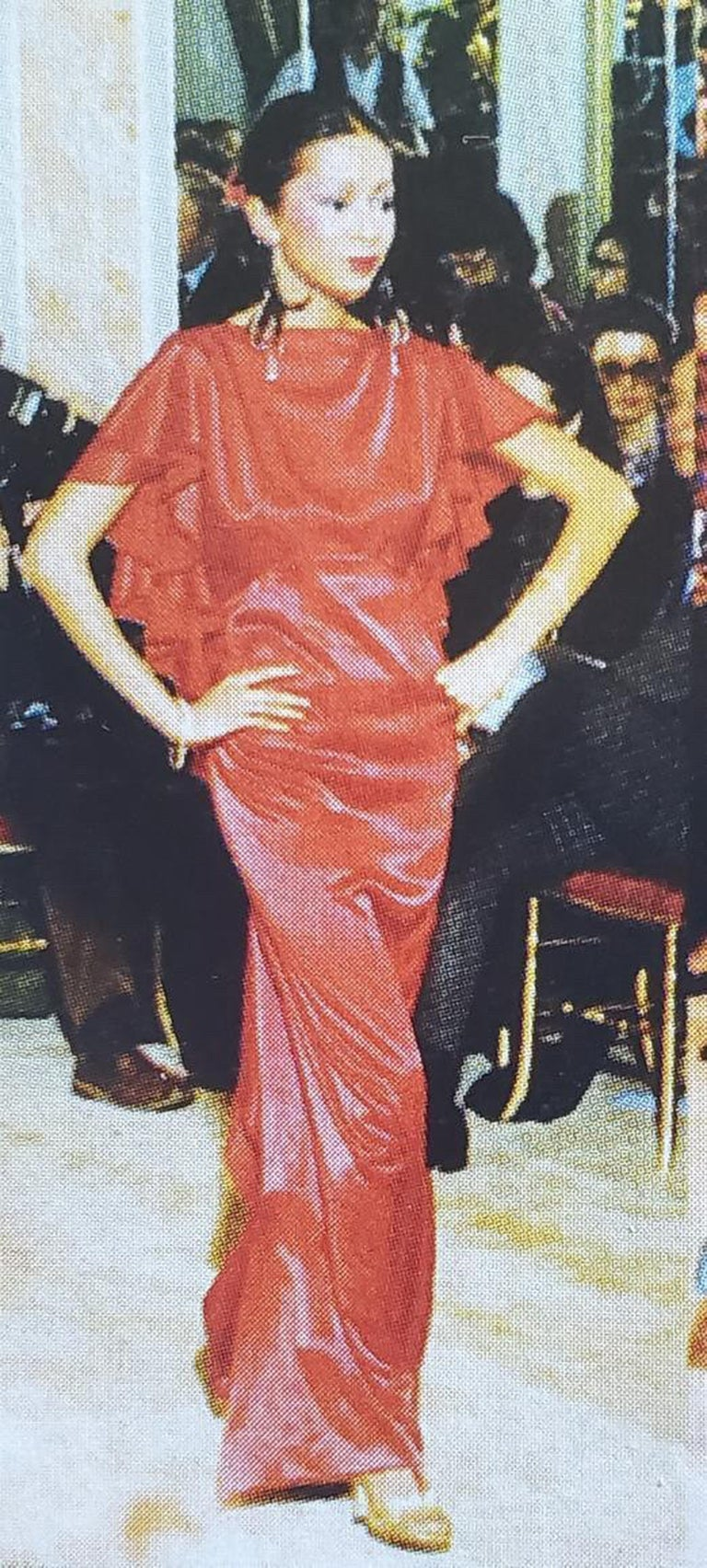Gorgeous Yves Saint Laurent documented couture gown from his iconic 1979 spring-summer collection. We found the garment to be just as fabulous worn backwards so we styled both ways for you! It is insanely chic with its unique flamenco flutter. The