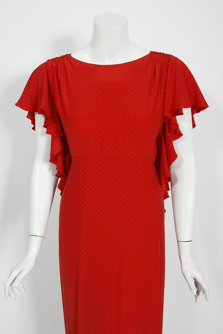 Vintage 1979 Yves Saint Laurent Haute Couture Red Dotted Silk Backless Gown In Good Condition For Sale In Beverly Hills, CA