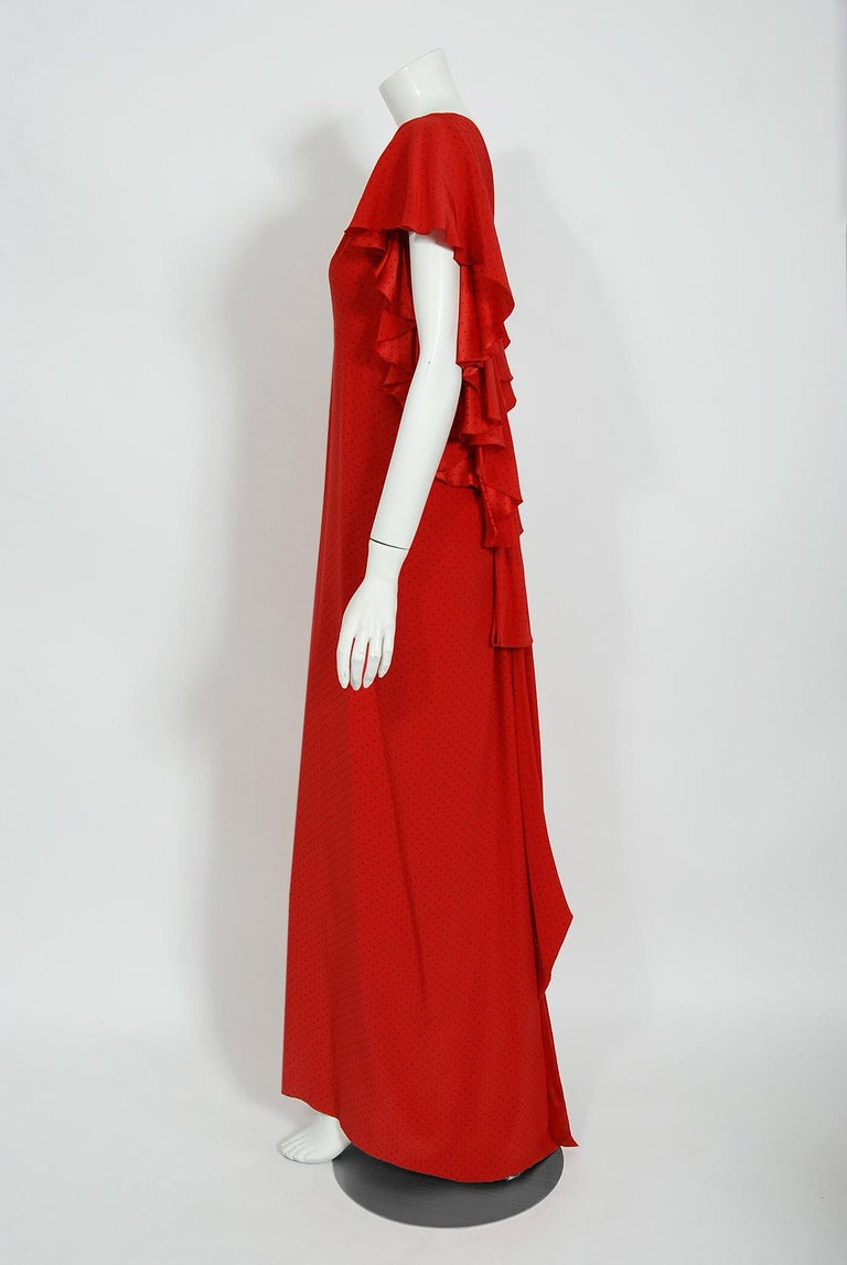 Vintage 1979 Yves Saint Laurent Haute Couture Red Dotted Silk Backless Gown For Sale 2
