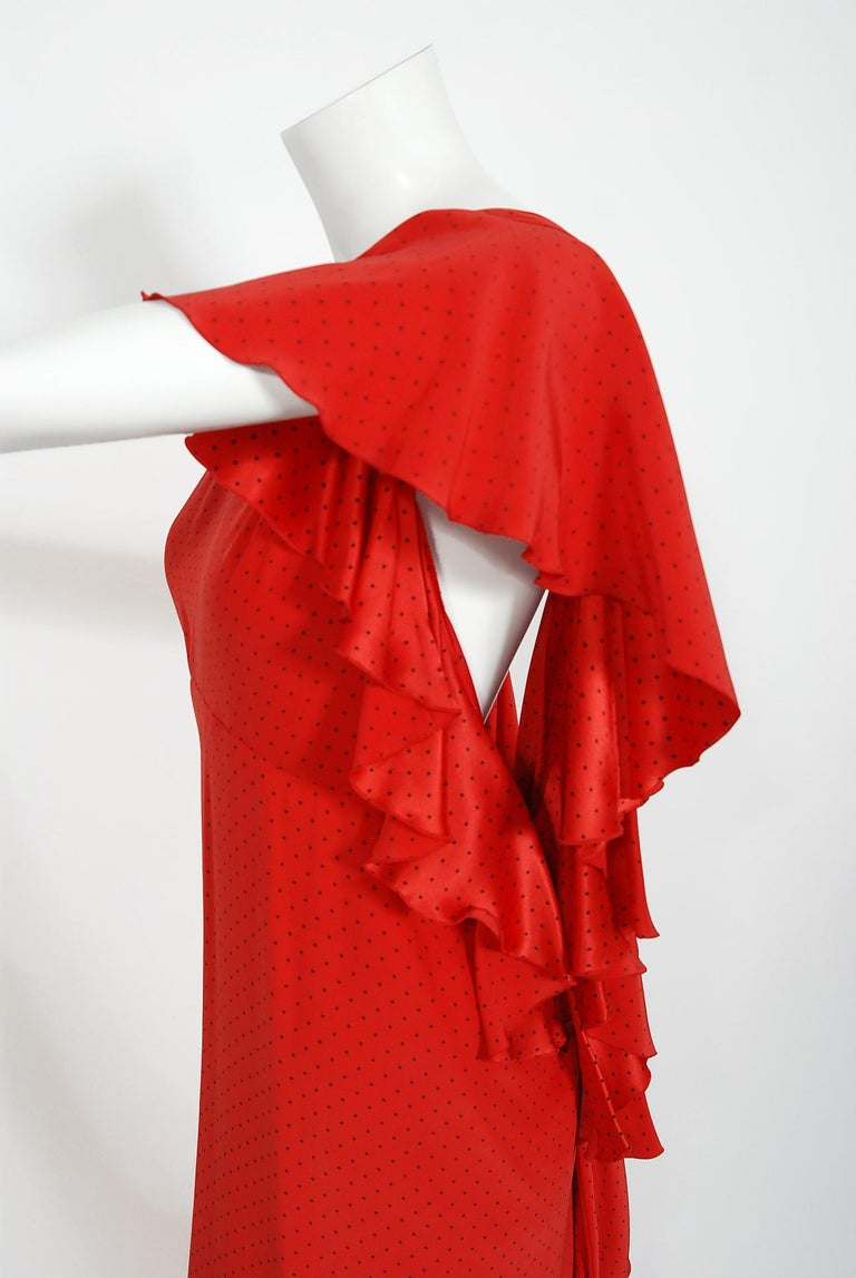 Vintage 1979 Yves Saint Laurent Haute Couture Red Dotted Silk Backless Gown For Sale 3