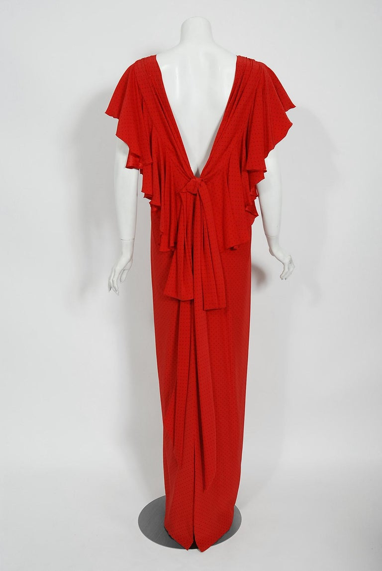 Vintage 1979 Yves Saint Laurent Haute Couture Red Dotted Silk Backless Gown For Sale 4