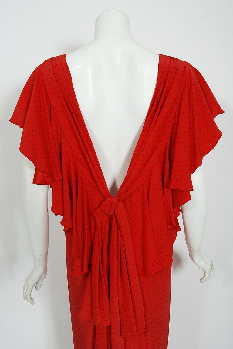 Vintage 1979 Yves Saint Laurent Haute Couture Red Dotted Silk Backless Gown For Sale 5