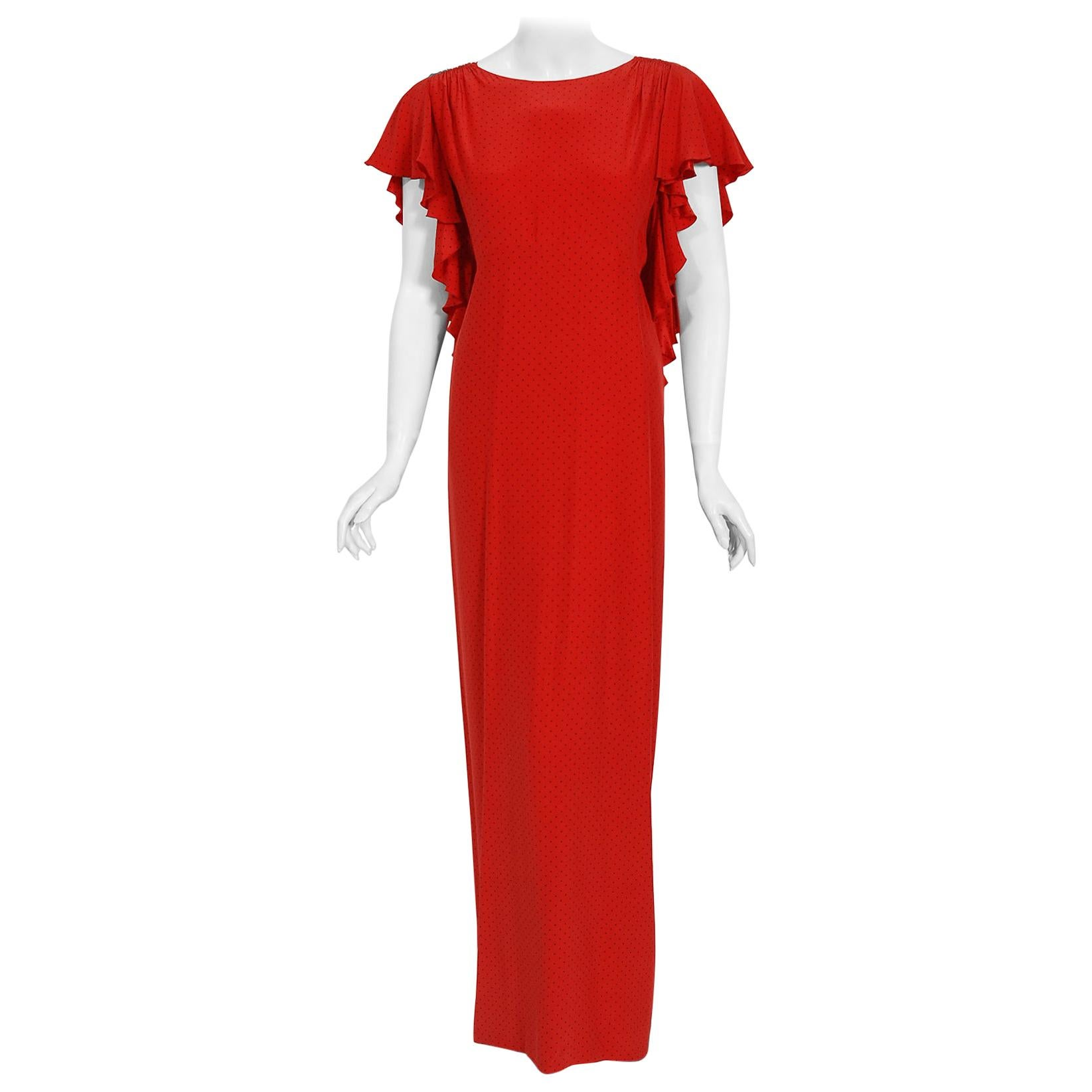 Vintage 1979 Yves Saint Laurent Haute Couture Red Dotted Silk Backless Gown