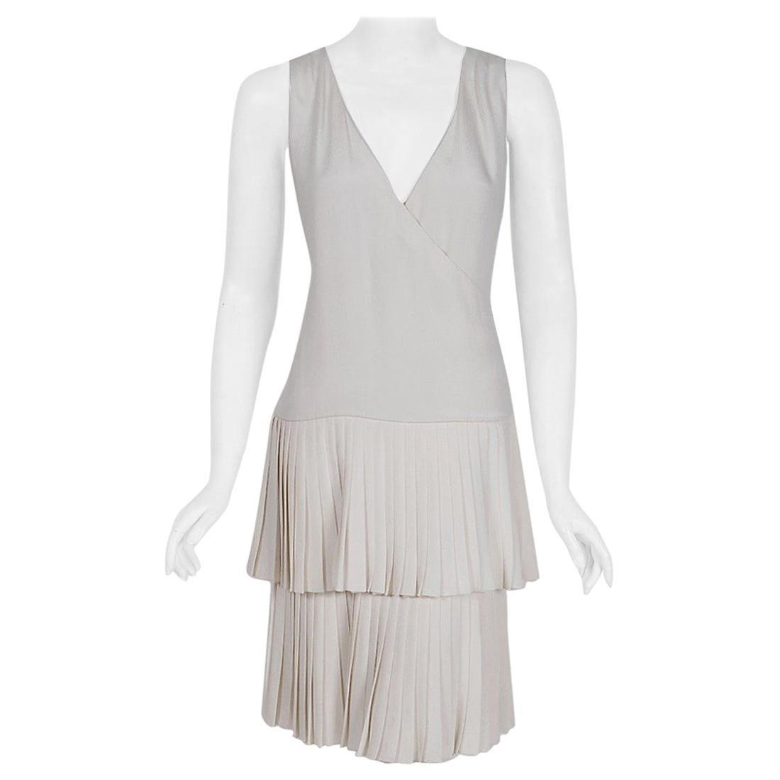 Vintage 1980 Christian Dior Haute Couture Ivory Silk Pleated Drop-Waist Dress