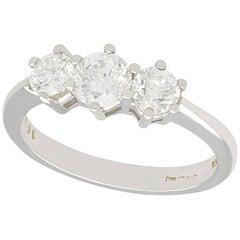 Vintage 1980s 1.04 Carat Diamond White Gold Three-Stone Ring