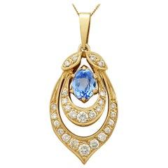 Vintage 1980s 1.10 Carat Aquamarine Diamond Yellow Gold Pendant