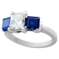 Vintage 1980s 1.11 Carat Diamond Sapphire Platinum Three-Stone Ring