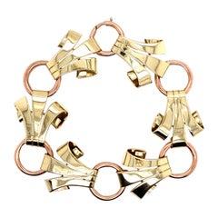 Vintage 1980s 14 Karat Rose and Green Gold Link Bracelet