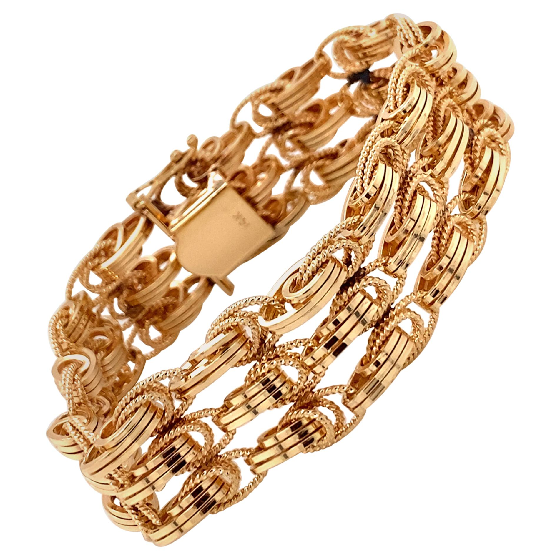 Vintage 1980s 14 Karat Yellow Gold 3-Row Wide Link Bracelet