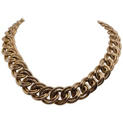 Vintage 1980s 14 Karat Yellow Gold Italian Wide Double Cable Link Necklace