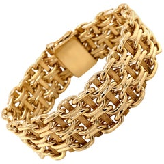 Vintage 1980s 14 Karat Yellow Gold Wide Link Bracelet