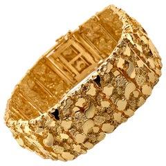 Vintage 1980s 14 Karat Yellow Gold Wide Nugget Bracelet