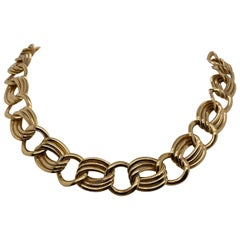 Vintage 1980s 14 Karat Yellow Gold Italian Wide Cable Link Necklace