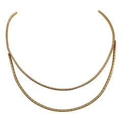Vintage 1980's 14k Yellow Gold Layered Omega Necklace