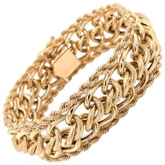 Vintage 1980's 14k Yellow Gold Wide Link with Rope Edge Bracelet