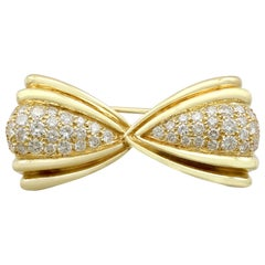 Vintage 1980s 1.68 Carat Diamond and Yellow Gold Bow Brooch