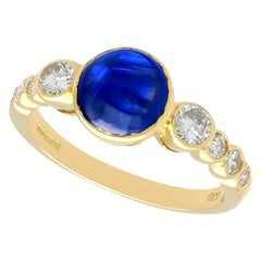 Vintage 1980s 1.74 Carat Sapphire and Diamond Yellow Gold Cocktail Ring