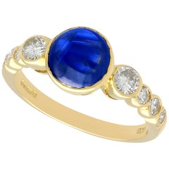 Vintage 1980s 1.74 Carat Sapphire and Diamond Yellow Gold Dress Ring