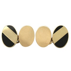 Vintage 1980s 18 Karat Yellow Gold and Black Enamel Cufflinks