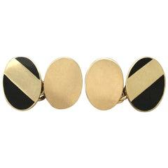 Vintage 1980s 18k Yellow Gold and Black Enamel Cufflinks