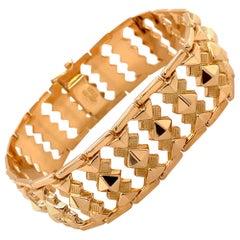 Vintage 1980s 18 Karat Yellow Gold Wide Link Bracelet