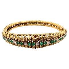 Vintage 1980's 18k Yellow Gold Emerald and Diamond Bangle