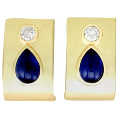 Vintage 1980s 2.50 Carat Sapphire and Diamond Yellow Gold Earrings