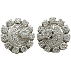 Vintage 1980s 3.05 Carat Diamond White Gold and Platinum Set Cluster Earrings